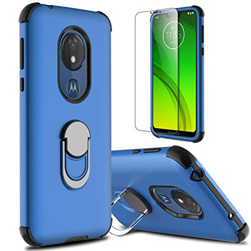 lovpec Moto G7 Power Case, Moto G7 Supra Case with Soft TPU Screen Protector, Ring Magnetic Holder Kickstand Shockproof Protective Phone Cover Case for Motorola Moto G7 Power (Blue)
