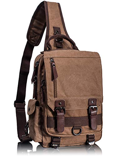 Leaper Canvas Messenger Bag Sling Bag Cross Body Bag Shoulder Bag Coffee, M