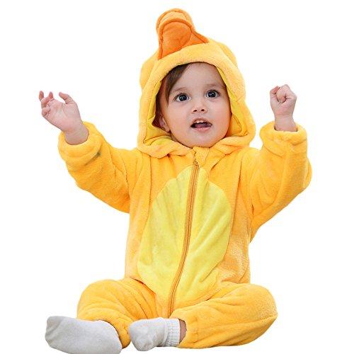 Kword Bambino Pagliaccetto con Cappuccio Prima Infanzia Bambino Bambina Tuta, Neonato Ragazzi Ragazze Flanella Cartoon Modellazione Incappucciato Rompers Abiti Vestiti (Giallo - Anatroccolo, 24 Mesi)