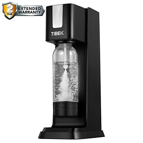 TIBEK Soda Stream Machine avec 1L Bouteille en PET sans BPA, Machine à Gazeifier l'Eau avec Bouton d'échappement pour la...