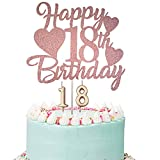 Happy 18th Birthday Cake Topper, Rose Gold 18th Birthday Cake Topper, 18th Birthday Cake Topper with Number 18 Candles for Girl 18th Birthday Party Decorations