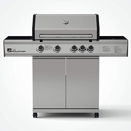 Fire Mountain Premier Plus 4 Burner Gas Barbecue | Premium Stainless Steel & Powerful Side Burner | Large 3050.25cm² Cooking Area and Protective Cover