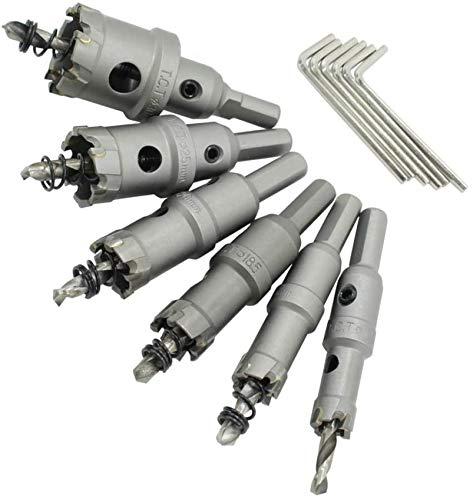 Sierra de perforación hz-6S TCT Juego de cortadores de Orificios de 6 Piezas de Acero Inoxidable de Alta Velocidad Aleación de Metal Diseño de Resorte Plateado, Adecuado para Herramientas de Madera d