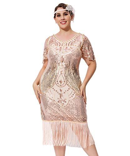Geplaimir 20er Jahre Kleider Damen Flapper Dress Charleston Kleider V Ausschnitt The Great Gatsby Motto Party Fasching Karneval Kostüm Roségold Große Größen 009A2XL