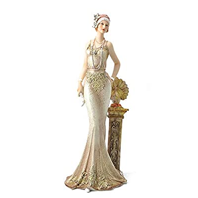 """Comfy Hour 13"""" Elegant Slim Lady Leaning On Pillar Collectible Figurine, Gold"""