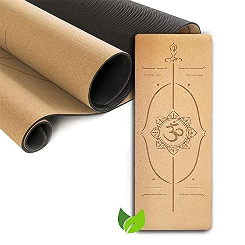 KILIG-Esterilla de Yoga de Corcho Antideslizante, Superior TPE Colchonetas de Ejercicio con Línea Auxiliar 183 x 66 x 4mm