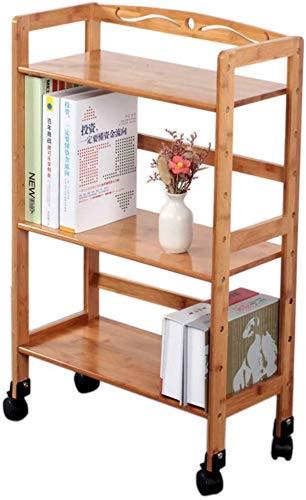 LLDKA Abnehmbare Kleines Bücherregal, Boden Bambus Bambusrolle Einfaches Schlafmassivholz-Gestell,43cm×23cm×80cm