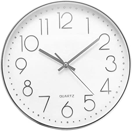 Jeteven 12'' Modern Wall Clock Silent Non-ticking Wall Clock for Living Room Bedroom