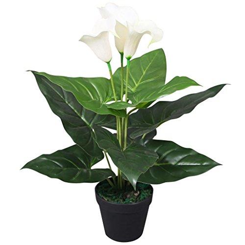 Xingshuoonline Dekoration, Haus Pflanzen Cala Lilly Kunst mit Blumentopf 45 cm, Weiß, künstliche Pflanzen, Dekoration, Material Äste und Äste: Drahtgeflecht aus Kunststoff und Eisen
