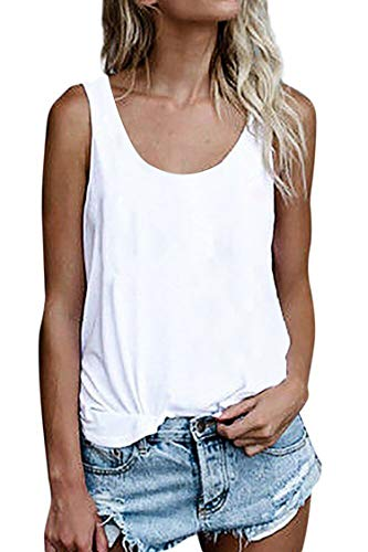 Damen Shirts Ärmellose Sommer Tunika Loose Fit Tank Tops (786Weiß, Large)