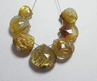 BEADS GEMSTONE Natural Golden Rutile Quartz 9x9-14x15 MM Feceted Pear Shape 7 Pcs Code-HIGH-68382