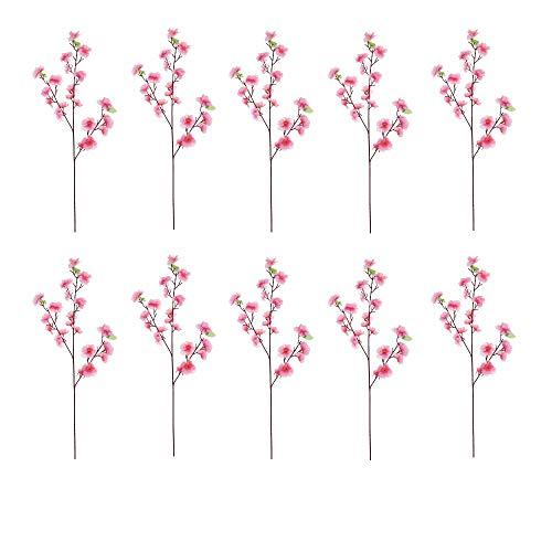1/3/10PCS Artificial Peach Blossom Pink Plastic Artificial Spring Plum Flower Home Decor Artificial Peach Blossom Branch Plastic Fake Flower Home Party Decor (10PCS)