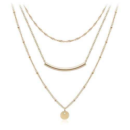 Aisansty Layered Coin Tube Pendant Choker Necklace for Women Girls Dainty Gold Plated Layering Chain Neckalces Set
