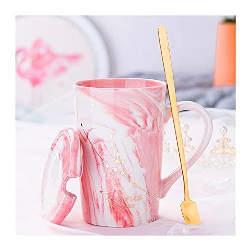 ZXCVB Tazas para Las Mujeres Cerámica Té Infusor Copa Modelo de constelación Estilo Girly Style 400ml con Cuchara y Tapa Adecuado para café Milk Milk Office (Color : Taurus)