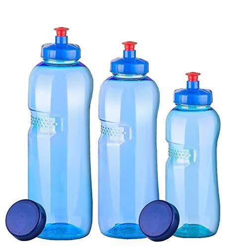 3 x Original Kavodrink Trinkflaschen aus TRITAN 100% ohne Weichmacher im Sparset: 1x1 Liter (rund), 1x 0,75 Liter (rund), 1x0,5 Liter (rund) + 3 Standarddeckel + 3 Trinkdeckel (Push PULL)