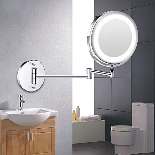 CWDOG LED Kosmetikspiegel mit leicht klappbarem Kosmetikspiegel zur Wandmontage 1x 10x Doppelseitiger Touch Helle verstellbare Badspiegel, Silber
