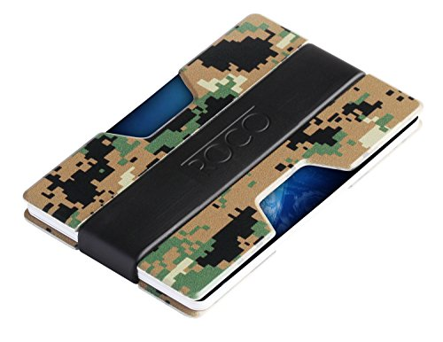 ROCO MINIMALIST Aluminum Slim Wallet RFID BLOCKING Money Clip - No.2, Woodland Digital Camo, Standard
