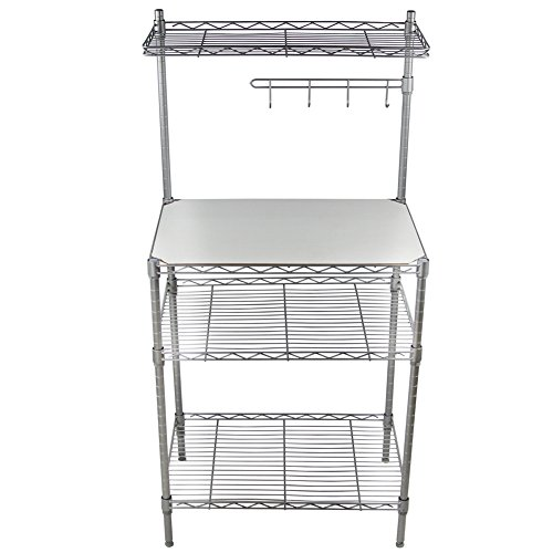 CBOKE 3 Tiers Kitchen Storage Oven Bakers Rack Multi-function Shelf with Hanging Hooks Carbon Steel 13.8x21.7x47.2 In US Stock