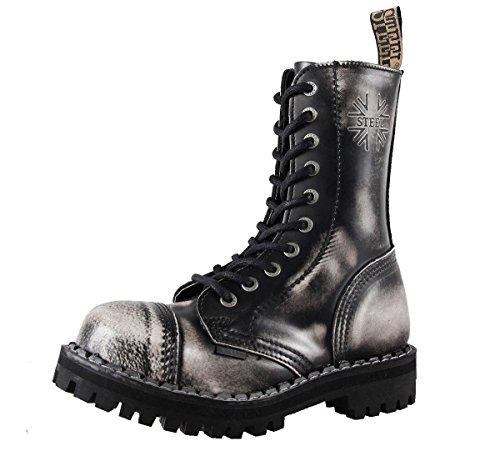 Steels 10 Loch Boots Schwarz Rub Off, Grösse 39