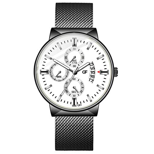 Armbanduhren Herren Quarzuhr,Evansamp Luxusuhren Wild Fashion Quarzuhr Edelstahl Beiläufige Armbanduhr(F)