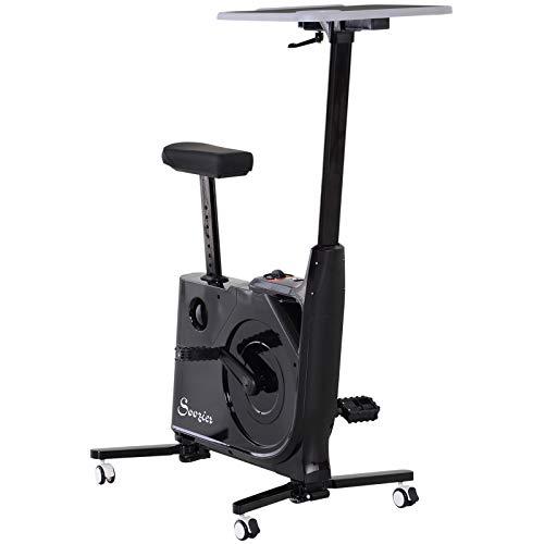 homcom Cyclette con Tavolo da Lavoro Scrivania con Altezza Regolabile per Il Tuo PC o Tablet, Pedali a Scomparsa
