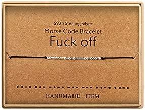 Morse Code Bracelet Sterling Silver Beads on Silk Cord Friendship Bracelet Gift for Her
