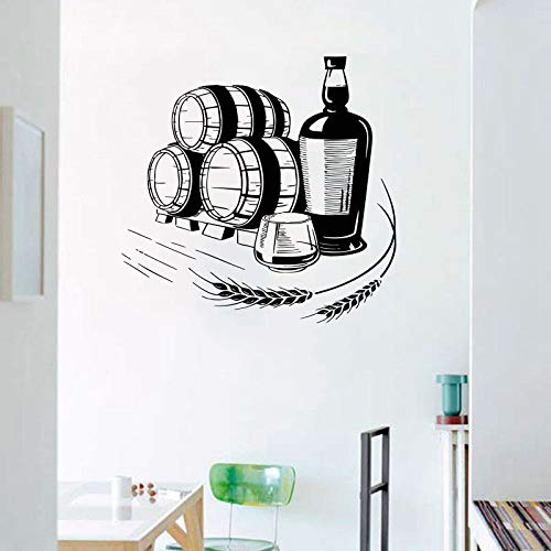 Trigo Vino Alcohol Bebidas Logotipo Signo Cerveza Barril Botella Vidrio Etiqueta de la pared Vinilo Arte Calcomanía Dormitorio Sala de estar Bar Pub Club Oficina Decoración para el hogar Mural