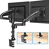 Dual Monitor Stand - Height Adjustable Gas Spring Double Arm Monitor Mount Desk Stand Fit Two 17 to 32 inch Screens with Clamp, Grommet Mounting Base, Each Arm Hold up to 19.8lbs
