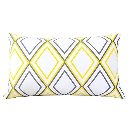 Nuobaby decoratief kussen sierkussen sofakussen geometrisch kussen 50 x 70 cm + kussen geel grijs diamant