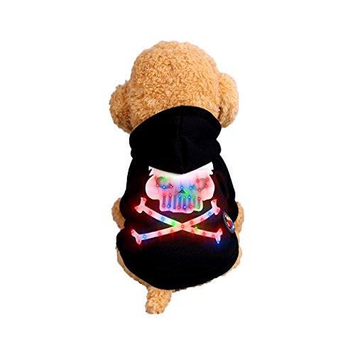 Abcsea Haustier Kostüm, Haustier Kleidung, Hund Kleidung, Haustier Glühen Kleidung, Leuchten Im Dunkeln, Hund Halloween Halloween Glühen Kostüm, Skelett Knochen Stil - Schwarz - S