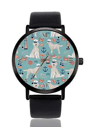 PALFREY Capitan Golden Doodle Reloj náutico para perro, de negocios, casual, deportivo, de cuarzo, para mujeres, hombres, impermeable, unisex