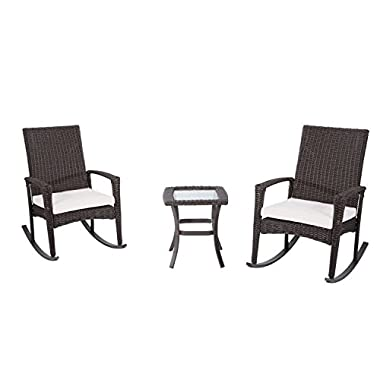 Outsunny 3 Piece Outdoor Rocking Chair and Table Set