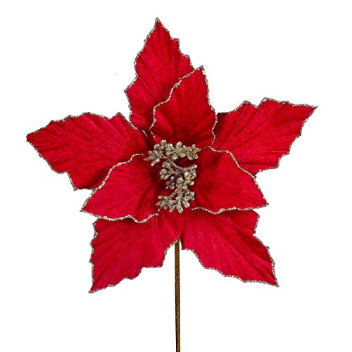 6 pcs Red Christmas Poinsettia Flowers Picks with Gold Glittered Edge Petals Christmas Tree Ornaments Red Velvet 9.6' for Red Christmas Tree Garlands Wreaths Winter Wedding Party Gift Decoration