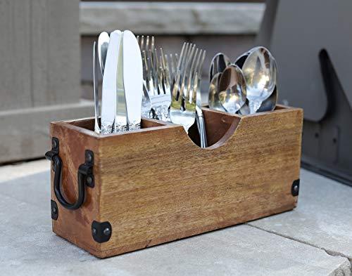 Utensilienhalter aus Mangoholz, Halter für Löffel, Gabeln, Messer, Salzpfeffer, Servietten, Besteck-Organizer (26,7 x 8,9 x 11,4 cm)