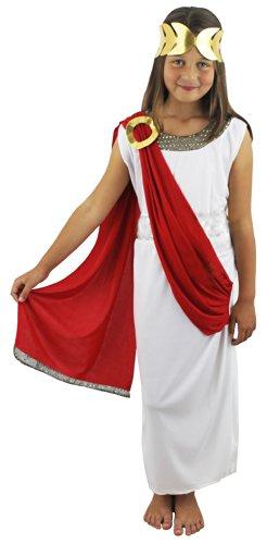 Authentique déguisement d'une déesse Grecque rouge avec cette longue toge blanche sans manches avec une étole rouge attachée sur l'épaule + une ceinture et une couronne dorées pour enfant. Ideal pour un spectacle de fin d'école. ( XLarge )