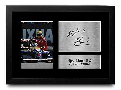 HWC Trading FR A4 Nigel Mansell & Ayrton Senna Formula 1 Los Regalos Imprimieron La Imagen Firmada del Autógrafo para Los Fanáticos De Las Carreras De La Fórmula 1 De F1 - A4 Framed
