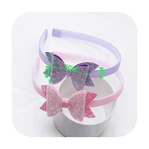 2PC Girls Trendy Glitter Hairbands New Children Step Teeth Headbands Kids Cheer Shape Bows Hair/Head Hoop Hair Accessories-Lavender Pink