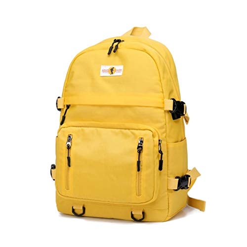 Mochila escolar amarilla unisex.