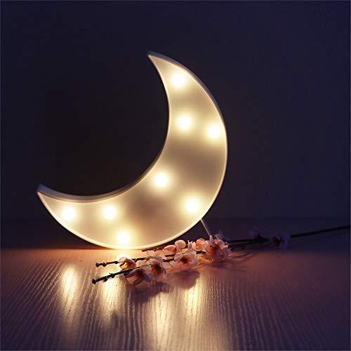 Luci notturne a 8 LED, Luci a forma di luna, Telecomando a pile delle lampade del LED per la decorazione di festival del partito domestico (Bianca)