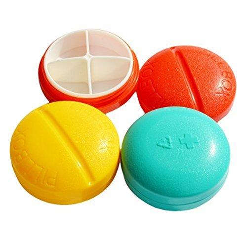 Pastillero Caja Organizar Pastillas Redonda 4 Compartimentos Colores Aleatorios ⭐