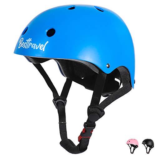 Besttravel Caschetti per Bambini,Casco Bici per Bambini e Adolescenti Scooter Helmet Regolabile Adatto per 3-8 anniSicurezza Multisport Caschetti con Certificazione CPSC (Blu)