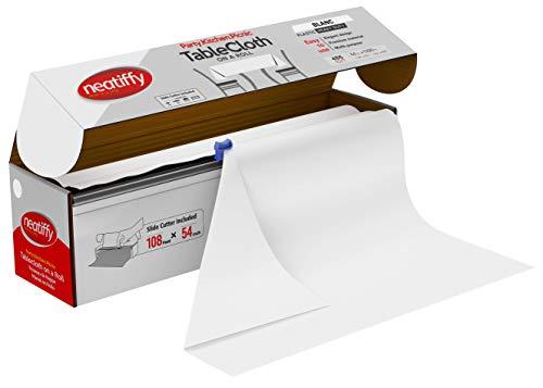 Neatiffy 137 CM x 32.9 M Jetable En Plastique Rouleau De Nappe, Équivalent À 12 Paquets De Pique-Nique, Blanche