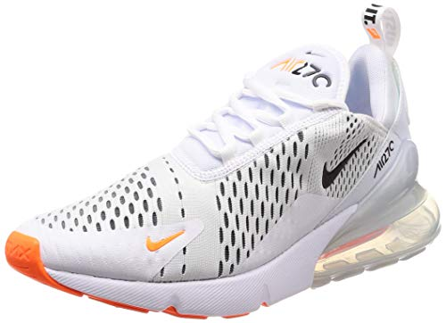 Nike Air Max 270, Sneakers Basses Homme, Multicolore (White/Black/Total Orange), 39 EU