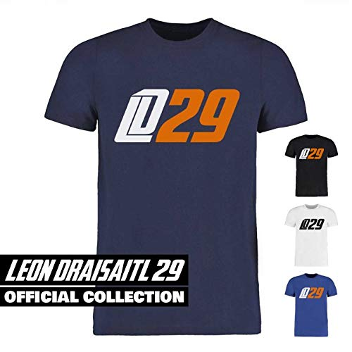 Scallywag® Eishockey T-Shirt Leon Draisaitl LD29 weiß, blau & Navyblau I Größen XS - 3XL I A BRAYCE® Collaboration (offizielle LD29 Kollektion vom NHL Edmonton Oilers Star) (XXL, Navyblau)