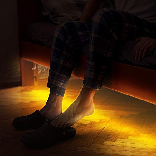 Bettlicht mit Bewegungsmelder, Emotionlite Bewegungsaktivierte LED-Streifen Dekorative Lichtleiste, Bewegungsmelder zeitverstellbar, Warme gelbliche Farbe, Einzelbett