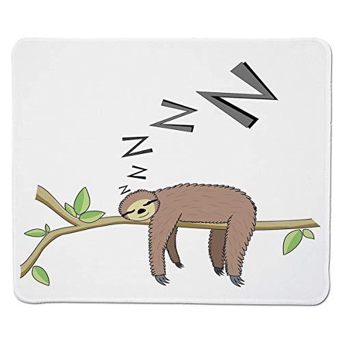 Mousepad Trägheit, baumartiges Säugetier, Das auf Niederlassung in der faulen Stimmung des Waldes schläft, die entspannendes Thema dekoratives, genähter Rand-Nicht Beleg-Gummi Sich entspannt