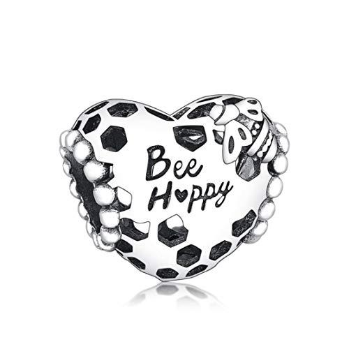 Abalorio de plata de ley 925 con diseño de abeja y corazón feliz para pulseras o collares similares