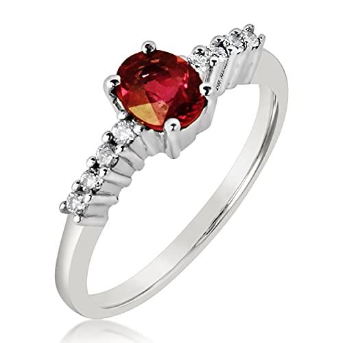 MILLE AMORI ∞ - Anillo de compromiso para mujer de oro y diamante y rubí natural ∞ oro blanco de 9 quilates 375 diamante 0,06 K rubí 0,40 Kts