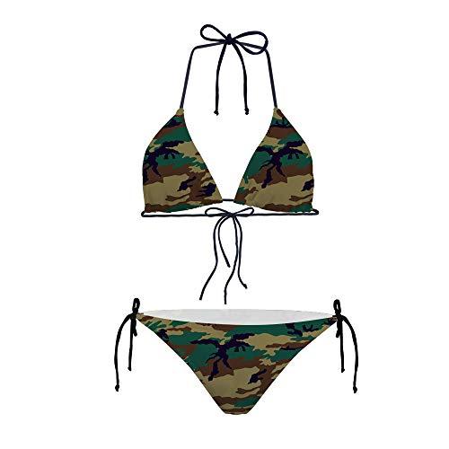 Hugs Idea Damen Bikini Camouflage, sexy, gepolstert, verstellbar, 2-teiliger Badeanzug Gr. X-Small, Camouflage 4