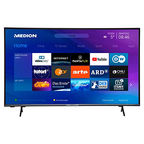MEDION X14351 108 cm (43 Zoll) UHD Fernseher (Smart-TV, 4K Ultra HD, HDR 10, Micro Dimming, Netflix, Prime Video, WLAN, PVR, Bluetooth)